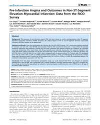 Plos One : Pre-infarction Angina and Out... by Moretti, Claudio