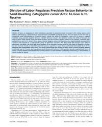 Plos One : Division of Labor Regulates P... by Chapouthier, Georges