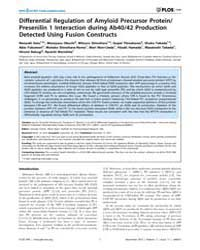 Plos One : Differential Regulation of Am... by Forloni, Gianluigi