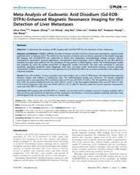 Plos One : Meta-analysis of Gadoxetic Ac... by Chen, Xiaoyuan