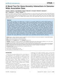 Plos One : a Novel Test for Gene-ancestr... by Paschou, Peristera