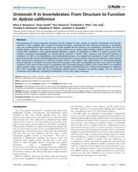Plos One : Urotensin II in Invertebrates... by Kirchmair, Rudolf
