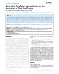 Plos One : Generating Correlation Matric... by Scalas, Enrico