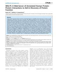 Plos One : Wiki-pi ; a Web-server of Ann... by Csermely, Peter