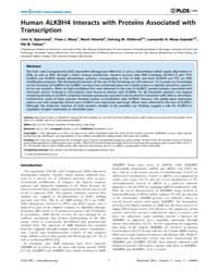 Plos One : Human Alkbh4 Interacts with P... by Ko, Ben C.B.