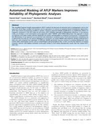 Plos One : Automated Masking of Aflp Mar... by Badger, Jonathan H.