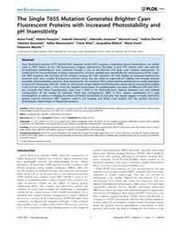 Plos One : the Single T65S Mutation Gene... by Rao, Jianghong