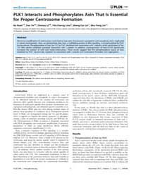Plos One : Plk1 Interacts and Phosphoryl... by Wang, Qiang