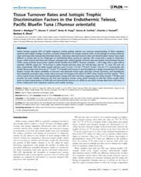 Plos One : Tissue Turnover Rates and Iso... by Planas, Josep V.