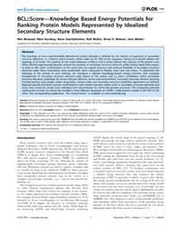 Plos One : Bcl;;Score—knowledge Based En... by Deane, Charlotte, M.