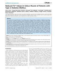Plos One : Reduced T2* Values in Soleus ... by Dzeja, Petras