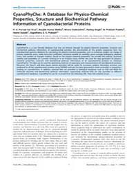 Plos One : Cyanophyche ; a Database for ... by Sutherland-smith, Andrew, John