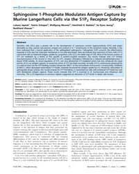 Plos One : Sphingosine 1-phosphate Modul... by Bayry, Jagadeesh