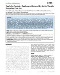 Plos One : Dysferlin-peptides Reallocate... by Gillingwater, Thomas, H.