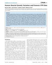 Plos One : Human Neutral Genetic Variati... by Kayser, Manfred