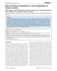 Plos One : Role of Histone Deacetylases ... by Wu, Keqiang