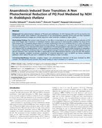 Plos One : Anaerobiosis Induced State Tr... by Woloschak, Gayle, E.