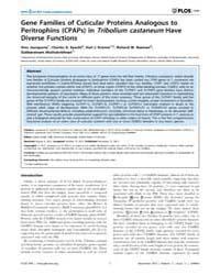 Plos One : Gene Families of Cuticular Pr... by Palli, Subba, Reddy