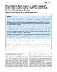 Plos One : Organizational Determinants o... by Baradaran, Hamid, Reza