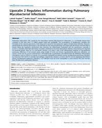 Plos One : Lipocalin 2 Regulates Inflamm... by Ryffel, Bernhard