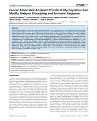 Plos One : Cancer Associated Aberrant Pr... by Yang, Isaac