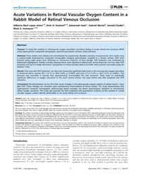 Plos One : Acute Variations in Retinal V... by De Smet, Marc, D.