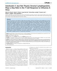 Plos One : Interleukin-7, but Not Thymic... by Bourgeois, Christine