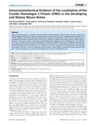 Plos One : Immunocytochemical Evidence o... by Frishman, Laura