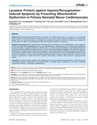 Plos One : Lycopene Protects Against Hyp... by Gallyas, Ferenc