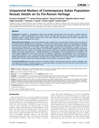 Plos One : Uniparental Markers of Contem... by Caramelli, David