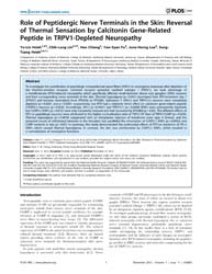 Plos One : Role of Peptidergic Nerve Ter... by Chang, Alice, Y. W.