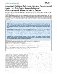 Plos One : Impacts of CA9 Gene Polymorph... by Savas, Sevtap