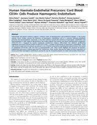 Plos One : Human Haemato-endothelial Pre... by Beltrami, Antonio, Paolo