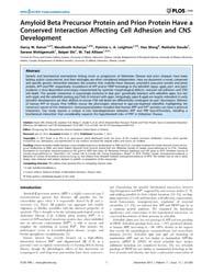 Plos One : Amyloid Beta Precursor Protei... by Xie, Zhongcong