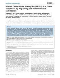 Plos One : Histone Demethylase Jumonji D... by Zhu, Wei-guo