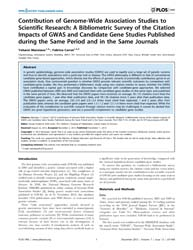 Plos One : Contribution of Genome-wide A... by Grant, Struan, Frederick Airth