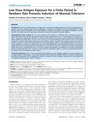 Plos One : Low Dose Antigen Exposure for... by Heimesaat, Markus, M.