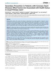 Plos One : Secondary Prevention in Patie... by Moretti, Claudio