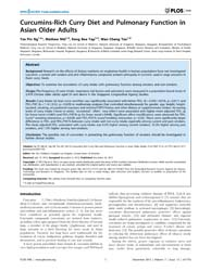 Plos One : Curcumins-rich Curry Diet and... by Shi, Wei