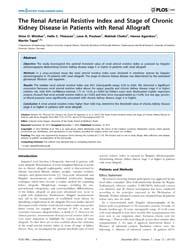 Plos One : the Renal Arterial Resistive ... by Seguro, Antonio, Carlos