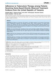 Plos One : Adherence to Tuberculosis The... by Munayco, Cesar, V.