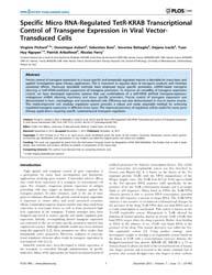 Plos One : Specific Micro Rna-regulated ... by Wijnen, Andre, Van