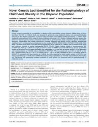 Plos One : Novel Genetic Loci Identified... by Crawford, Dana, C.