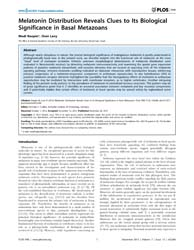 Plos One : Melatonin Distribution Reveal... by Foulkes, Nicholas S.