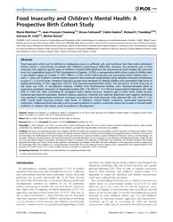 Plos One : Food Insecurity and Children'... by Uddin, Monica