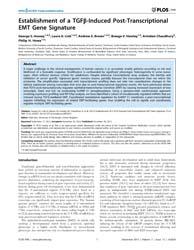 Plos One : Establishment of a Tgfβ-induc... by Katz, Elad