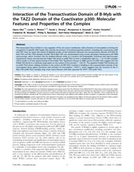 Plos One : Interaction of the Transactiv... by Spilianakis, Charalampos, Babis