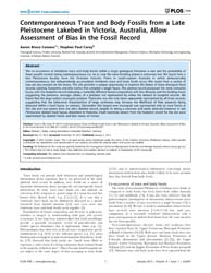 Plos One : Contemporaneous Trace and Bod... by Butler, Richard J.