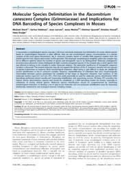 Plos One : Molecular Species Delimitatio... by Filatov, Dmitry, A.