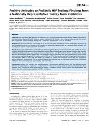 Plos One : Positive Attitudes to Pediatr... by Vermund, Sten, H.